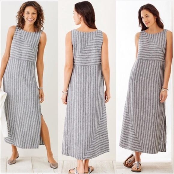 c28650b48494 J Jill Love Linen Striped Maxi Dress - NWT